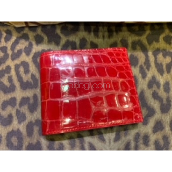 Crocodile leather Wallet (Red)