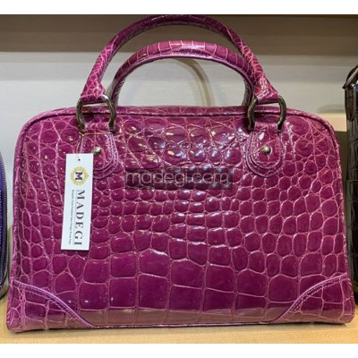 CroC-Effect Structred Top Handle Bag